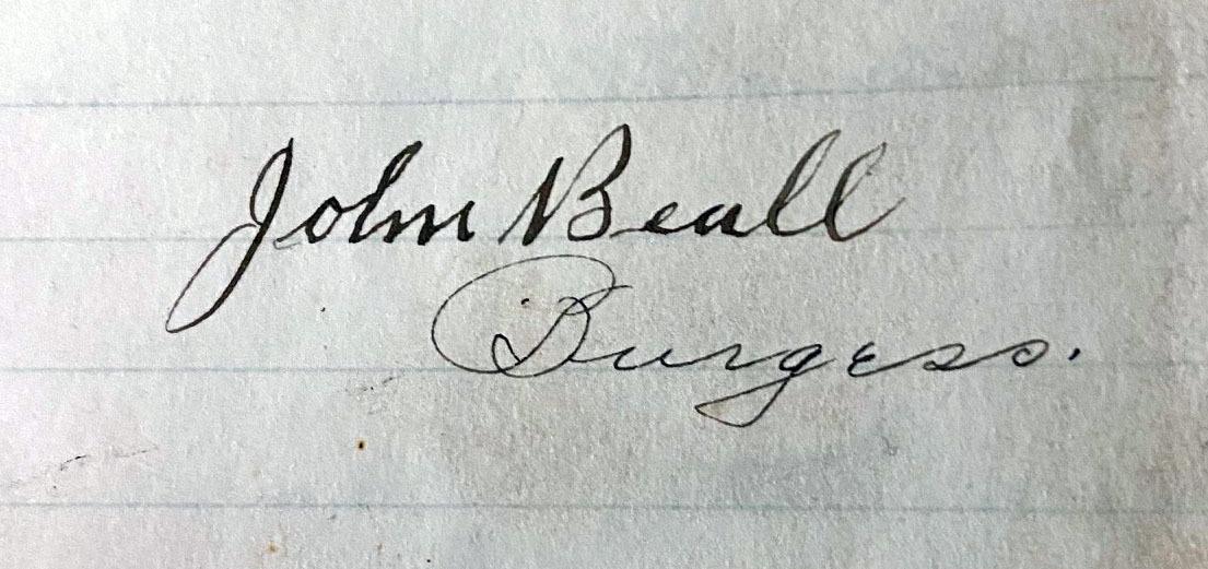 Mayor (Burgess) Beall, 1898-1899