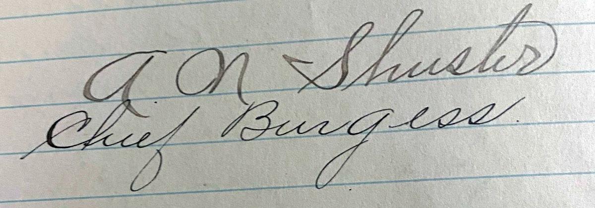 Mayor (Burgess) Shuster, 1901-1904